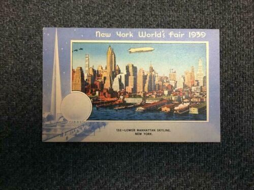 1939 Worlds Fair Post Card # 132 Lower Manhatten Skyline