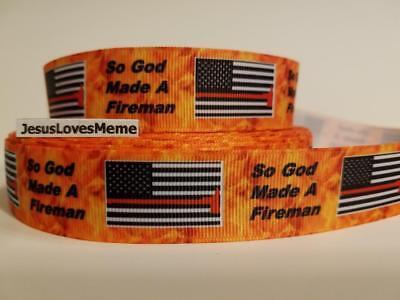 Flag Ribbon (Grosgrain Ribbon So God Made A Fireman Fire Fighter's Flag Brave Servicemen )