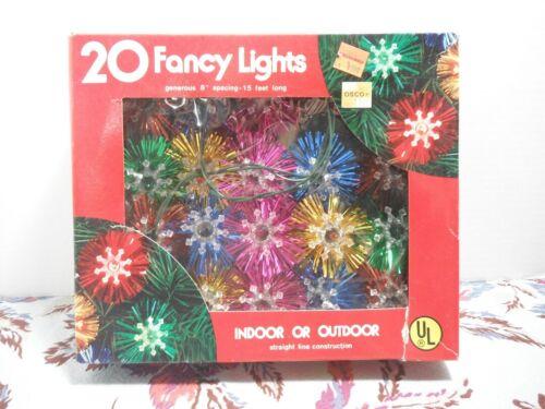 Vintage 80s Christmas 20 Fancy Lights NOS Tinsel Lights 120v 15 feet long WORKS