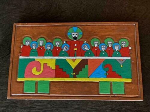 """Handmade El Salvador Folk Art """"The Last Supper"""" Painted Wood Plaque Wall Décor"""