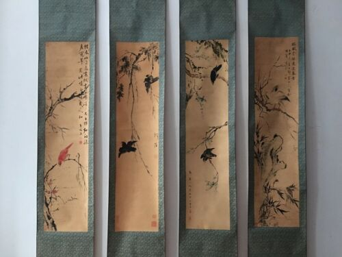 VERY RARE OLD FOUR CHINESE HAND PAINTING SCROLL MARKED