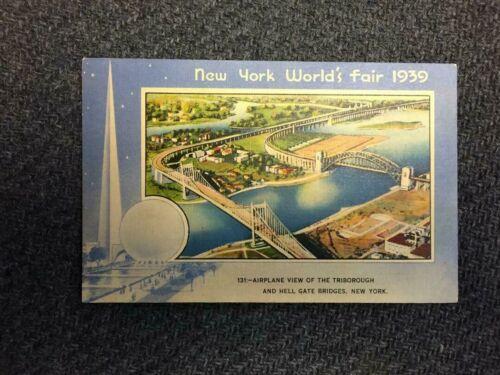 1939 Worlds Fair Post Card # 131 TriBorough and Hell Gate Bridges