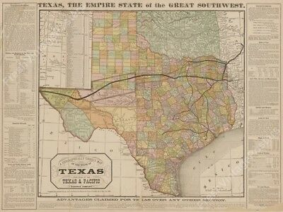 1876 Texas state color map Texas & Railway RR lines new poster 24x32