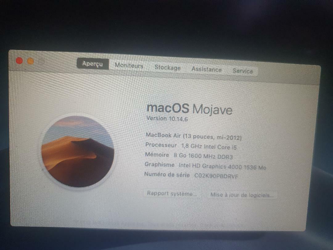 Macbook air 13 pouces - 2012   a1466  - 1,8 ghz  ram  8go ssd 128 go
