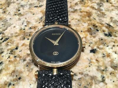 Vintage Genuine Gucci 2000M Black Face Watch 18K Accents 30mm