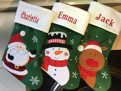 Embroidered Green Personalized Christmas Stockings - Personalised Embroidered Christmas Santa Snowman Reindeer Stocking Green