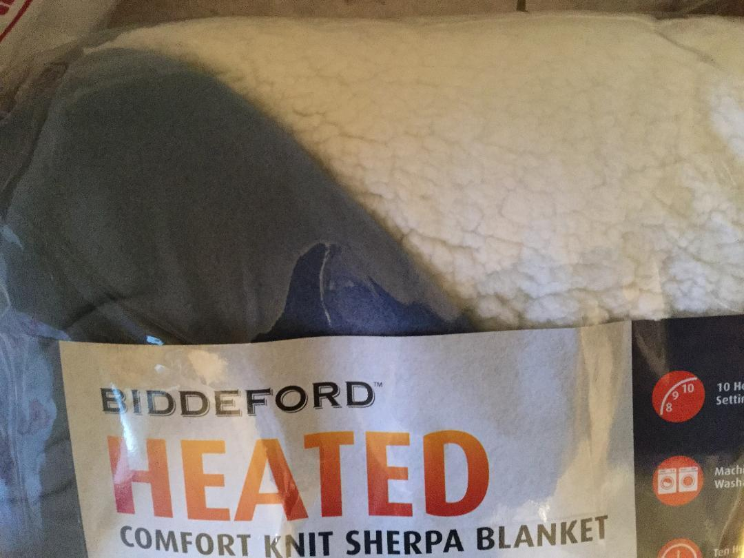 new queen size blue sherpa electric heated