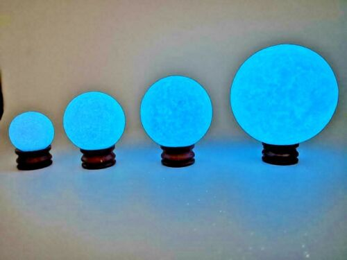 Blue Glow-In-The-Dark Balls Crystal Glass Luminous Sphere Stone + Free Stand US