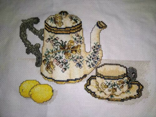 NEW Handmade Finished Completed Dutch Teapot Cross Stitch