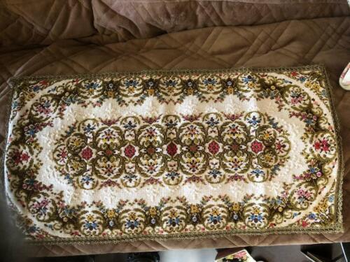 """Vintage Belgium Table Runner Tapestry Dresser Scarf 24"""" x 13"""" Mult-Color Floral"""