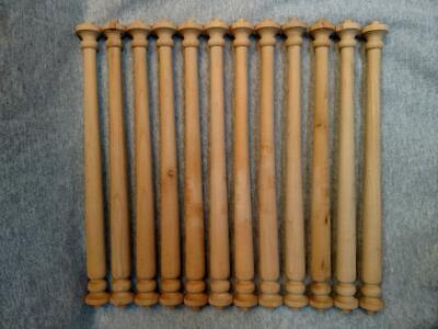 One Dozen (12) Unfinished Maple Turned Wood Spindles ~ 12