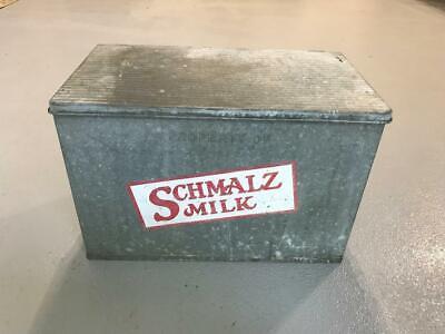 Vintage Antique SCHMALZ MILK Dairy Box Porch Cooler Galvanized Farmhouse Bottle