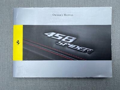 Ferrari 458 SPIDER Owners Handbook Manual - GENUINE FERRARI HANDBOOK -