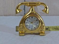 Gold Tone Mini Miniature Quartz Antique Desk Telephone Phone Clock  Ships FREE