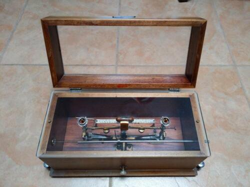 Antique Henry Troemner Scale # W 33-CLA Glass and Oak 4oz Apothecary Pharmacist