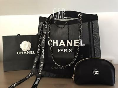New Chanel VIP 2 PC Set Black Mesh Silver Chain Shoulder Tote Bag + Makeup bag