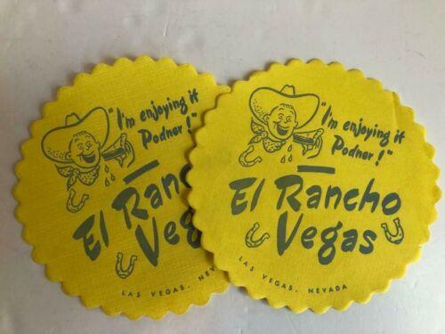 Set of 2 El Rancho Las Vegas Hotel Casino Paper Drink Coasters
