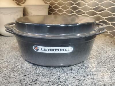 Le Creuset Cast Iron Oval 4.75 Qt Oven with Reversible Grill Pan Lid, Oyster NEW
