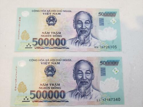 1,000,000 VIETNAM DONG (2x 500,000) BANK NOTE MILLION VIETNAMESE CIRCULATED