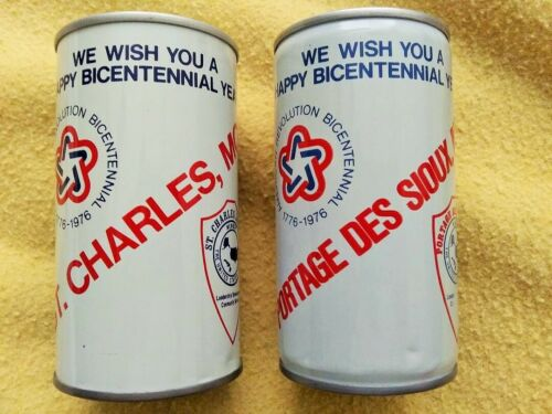 x2 1976 Budweiser Jaycees Commemorative Bicentennial Beer Cans Portage Des Sioux