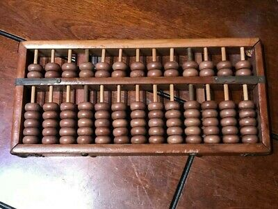 Vintage Style 13 Digits Rods Wooden Abacus Soroban Chinese Calculator
