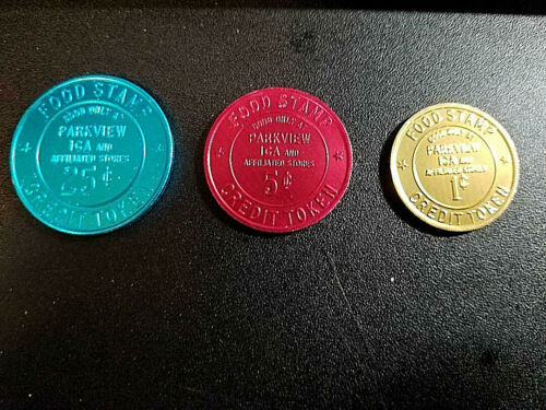 FOOD STAMP COUPON TOKEN  PARKVIEW IGA STORES STORE CREDIT TOKENS 3 1C 5C 25C