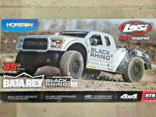 Losi Baja Rey Ford Raptor 1/10 RTR 4WD Brushless Desert Truck Black Rhino New!!