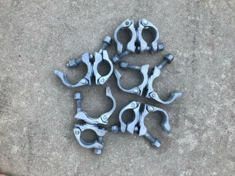 "lot of 8 forged galvanized 2"" scaffold/Pipe swivel clamps"