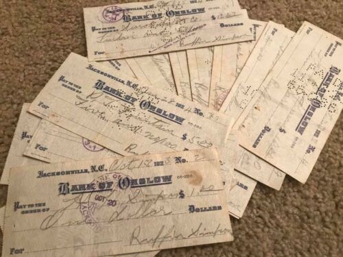 *Vintage Check 1923 Jacksonville NC Bank of Onslow Camp LeJeune Morgan Silver*