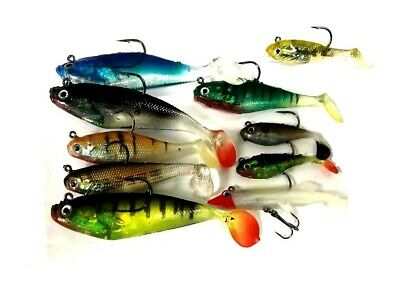 10 x For Real Assorted Shad Lures Soft Bait Fishing Shads Single / Treble Hooks