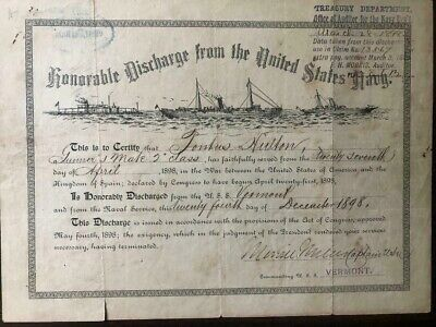 Spanish American War Honorable Discharge from the United States Navy USS Vermont