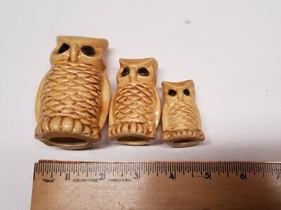 3 Vintage Decorative Owl Figurines Owls