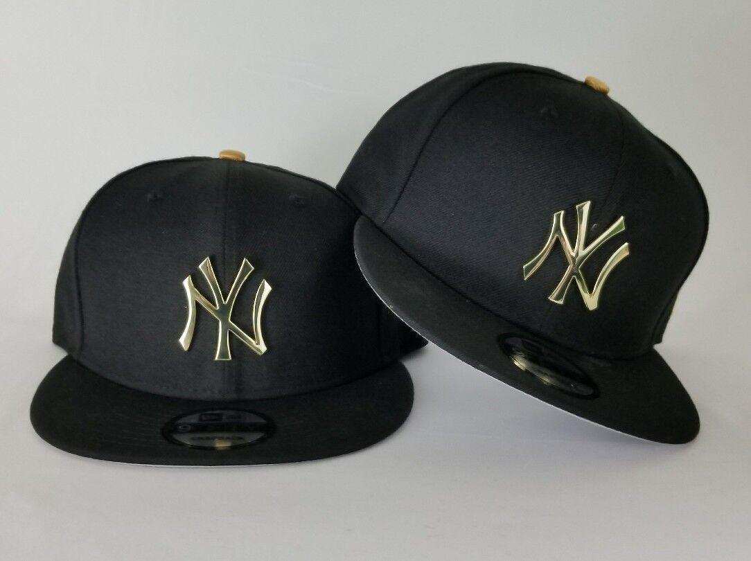 Black New York Yankee Black Metal Badge Logo Snapback Hat New Era Burgundy