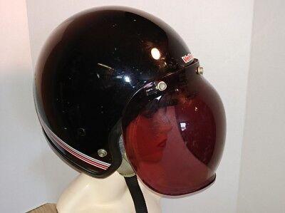 Vintage VETTER motorcycle helmet sz Large black/red pinstripe w/ bubble sheild
