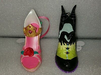 Disney Aurora Sleeping Beauty Maleficent Shoe  Ornaments Set Of 2