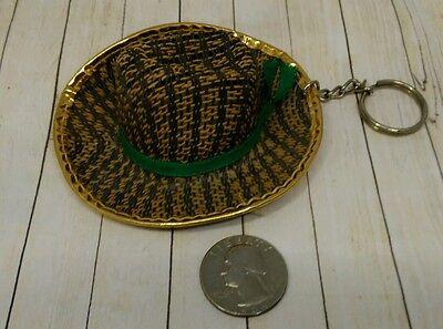 Cowboy Hat Keychain (Vintage Brown cowboy hat Keychain Fob)