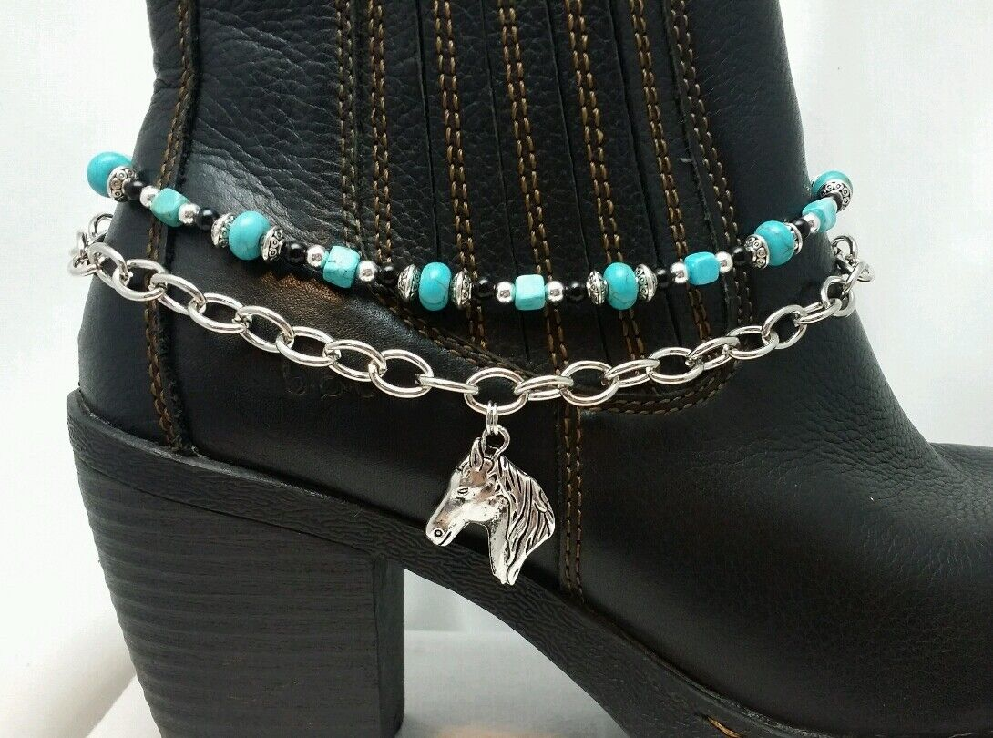 Boot Bling Anklet Chain Bracelet Jewelry Turquoise Bead Western Horse head Charm