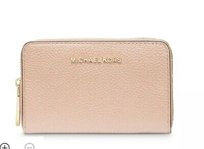 Michael Kors Jet Set Travel Zip-Around Coin Purse Card Case Wallet Soft Pink NWT