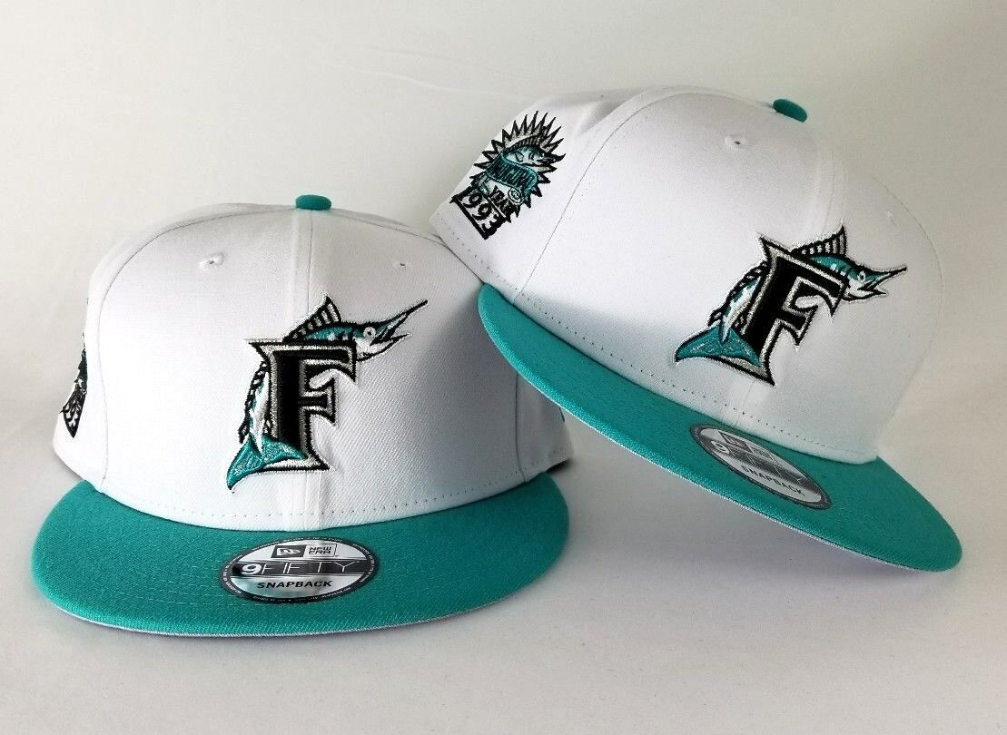 New Era White   Teal Florida Marlins 1993 Inaugural Side Patch Snapback Hat c7760d869a4e