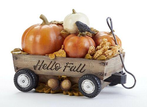 Autumn/Fall Farmhouse Hello Fall Pumpkin Wagon w/Crow Figurine