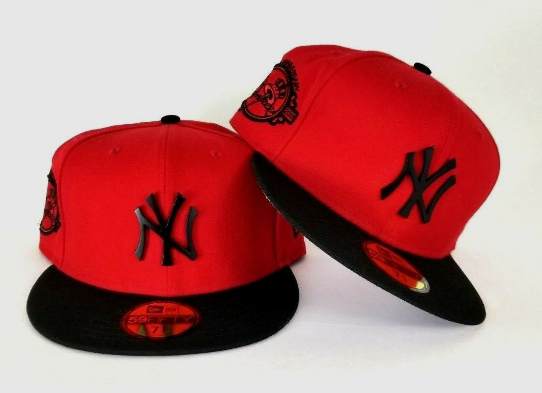 7a0665c9afea3 New Era Red Yankee 100th Anniversary Side Patch Black Metal Badge fitted hat
