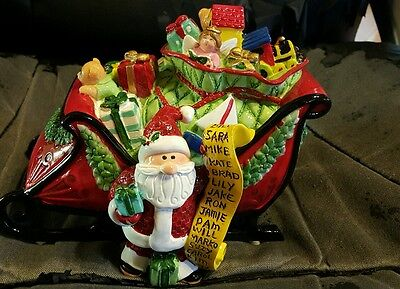 Fitz Floyd Holiday Christmas Musical Sleigh Plays Here Comes Santa Claus
