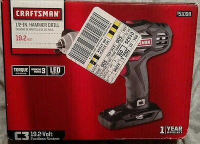 Craftsman Lithium Ion 1 2 C3 19 2V Hammer Drill Tool Only