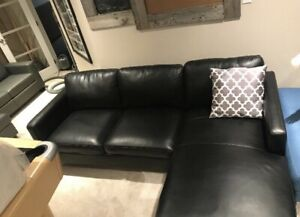 (Brand new) leather like sectional black left or right
