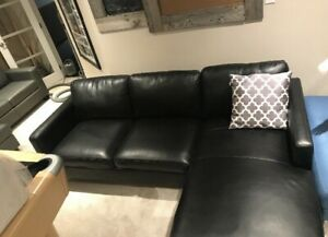 Brand new black leather like sectional great comfort