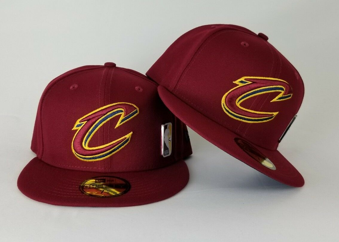 f789723529a New Era Burgundy Cleveland Cavaliers Side NBA Metal Badge Logo Fitted Hat