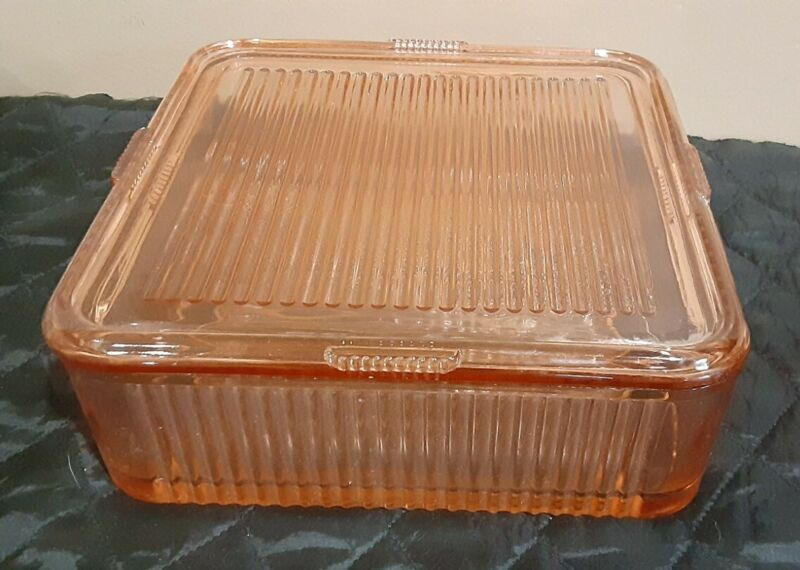Vintage Pink Ribbed Federal Refrigerator Dish 8 X 8 With Cover