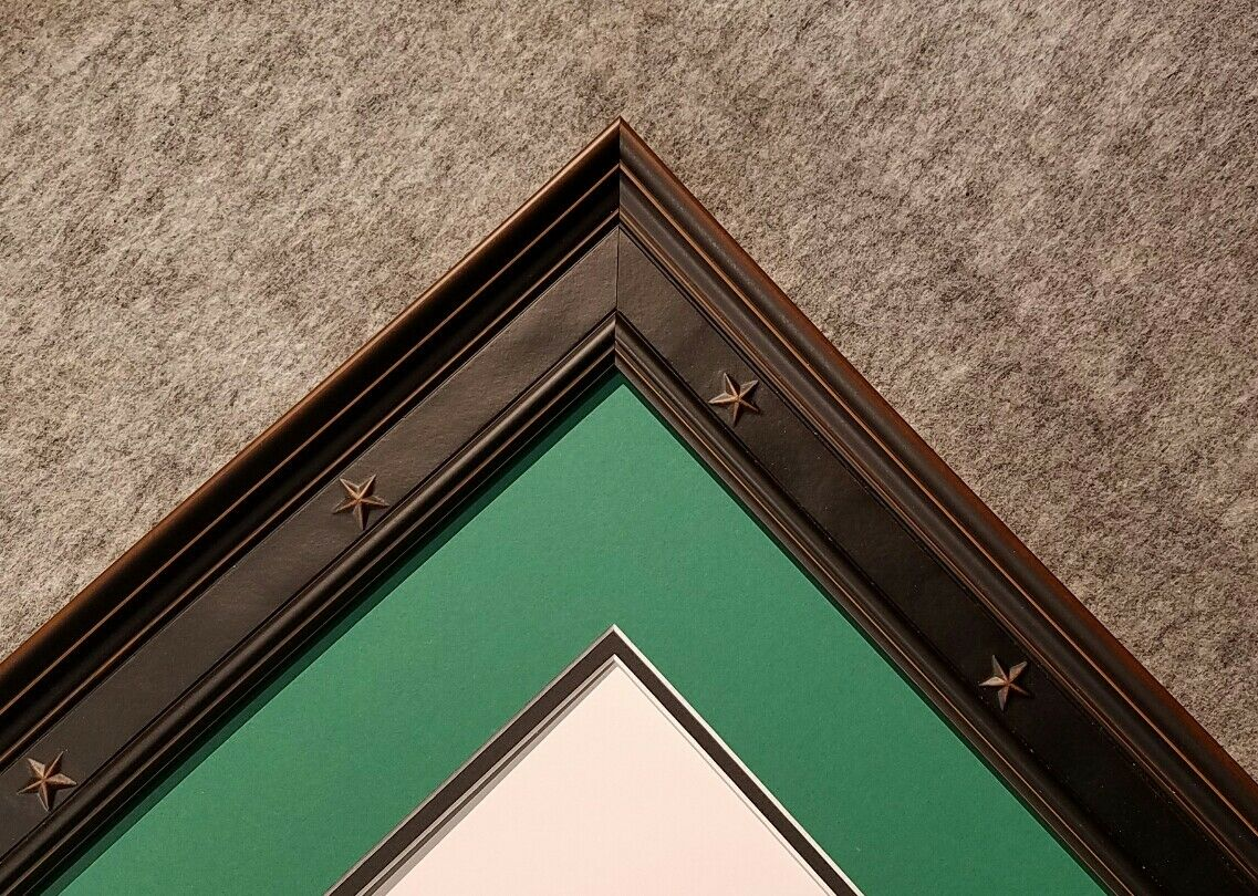 Custom black frame double mat for 1, 2, 5, 20 bill 16 uncut half sheet of money