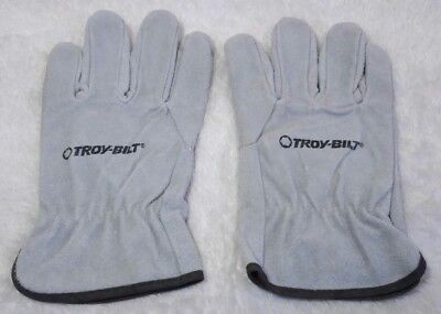 Troy Bilt Leather Work Protective Gloves Gray Grey Mens Size Large L New