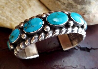 GORGEOUS Vtg. Old Pawn NAVAJO Gem Grade ROYSTON Turquoise Sterling CUFF BRACELET